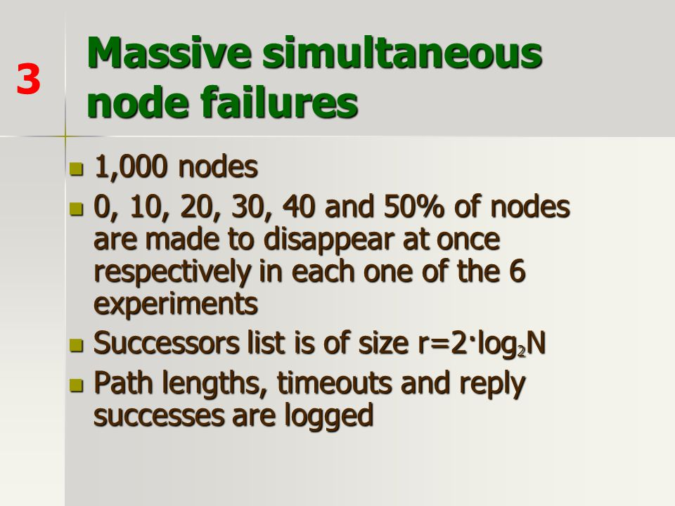 Massive simultaneous node failures 1,000 nodes 1,000 nodes 0, 10, 20, 30, 40 and 50% of nodes are made to disappear at once respectively in each one o