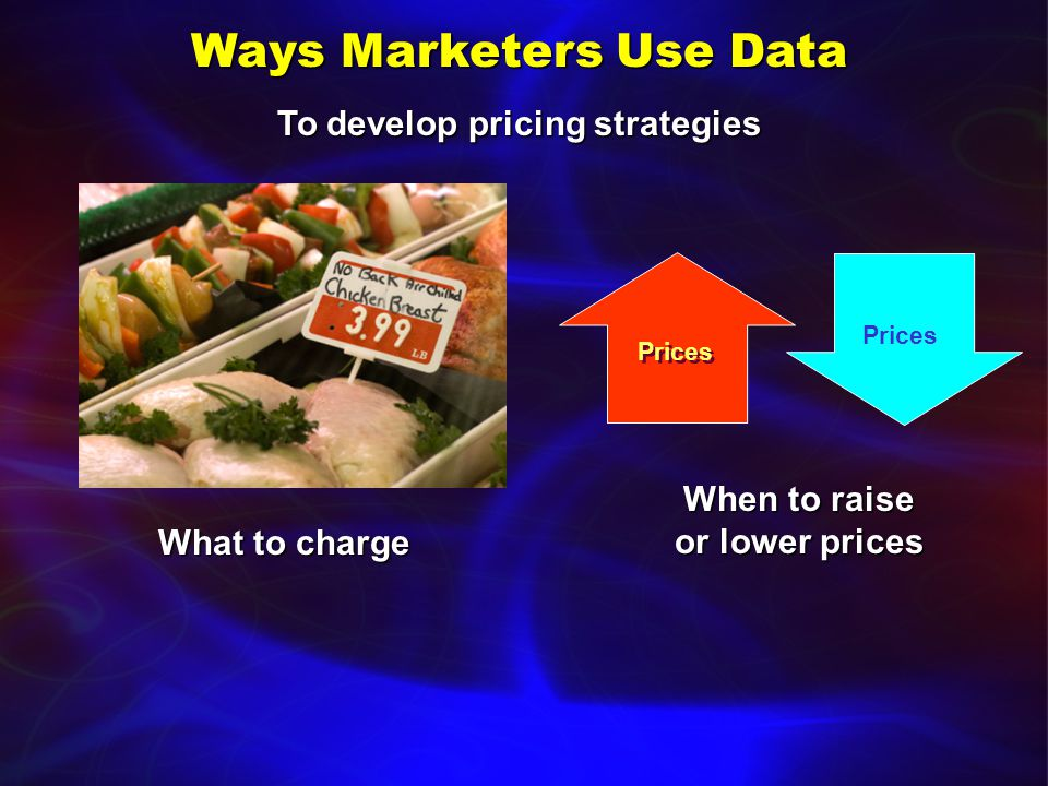 Ways Marketers Use Data To develop product strategies What products to offerWhat products to offer What new products to developWhat new products to develop What level of customer service to provideWhat level of customer service to provide