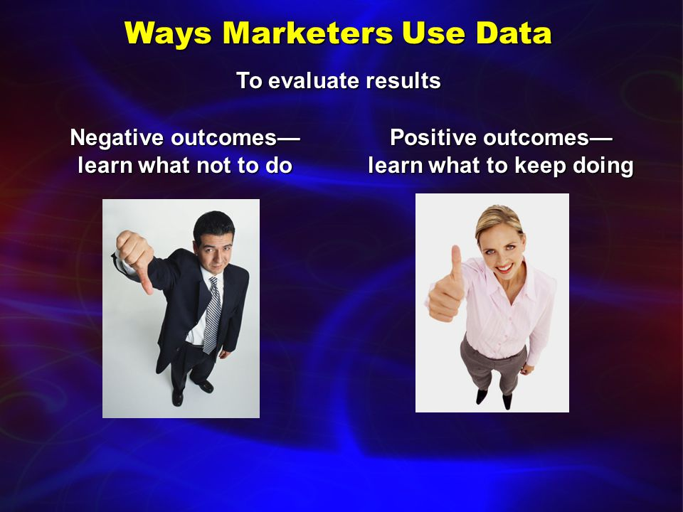 Ways Marketers Use Data To identify problems or issues with ProductProduct Customer serviceCustomer service Vendors/suppliersVendors/suppliers SalespeopleSalespeople