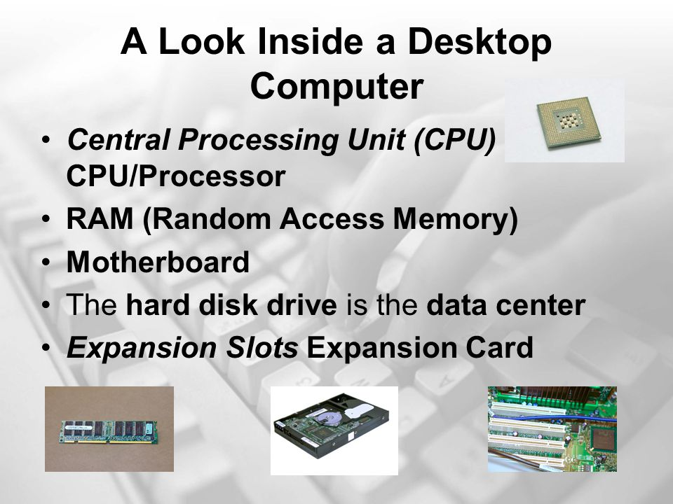 A Look Inside a Desktop Computer Central Processing Unit (CPU) CPU/Processor RAM (Random Access Memory) Motherboard The hard disk drive is the data center Expansion Slots Expansion Card