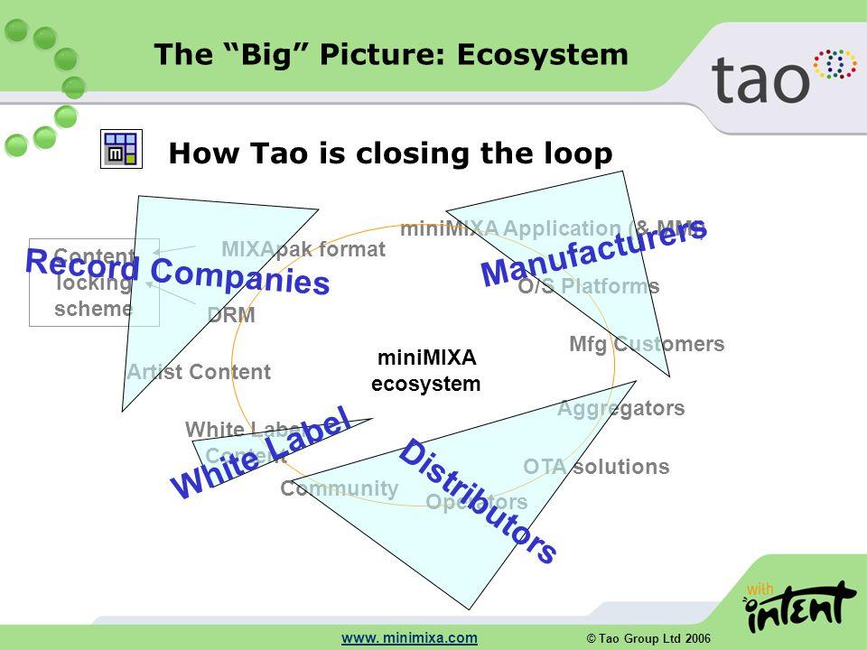 """© Tao Group Ltd 2006 www. minimixa.com How Tao is closing the loop The """"Big"""" Picture: Ecosystem miniMIXA ecosystem miniMIXA Application (& MMI) DRM Ag"""