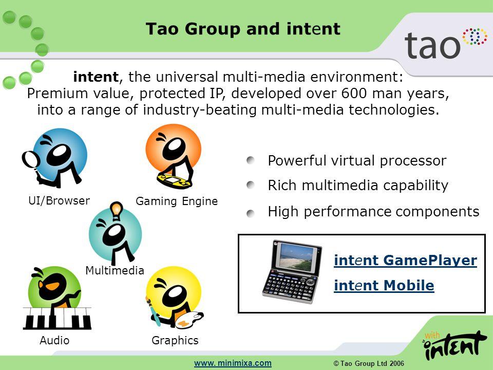 © Tao Group Ltd 2006 www. minimixa.com Graphics Audio Multimedia Gaming Engine UI/Browser Powerful virtual processor Rich multimedia capability High p
