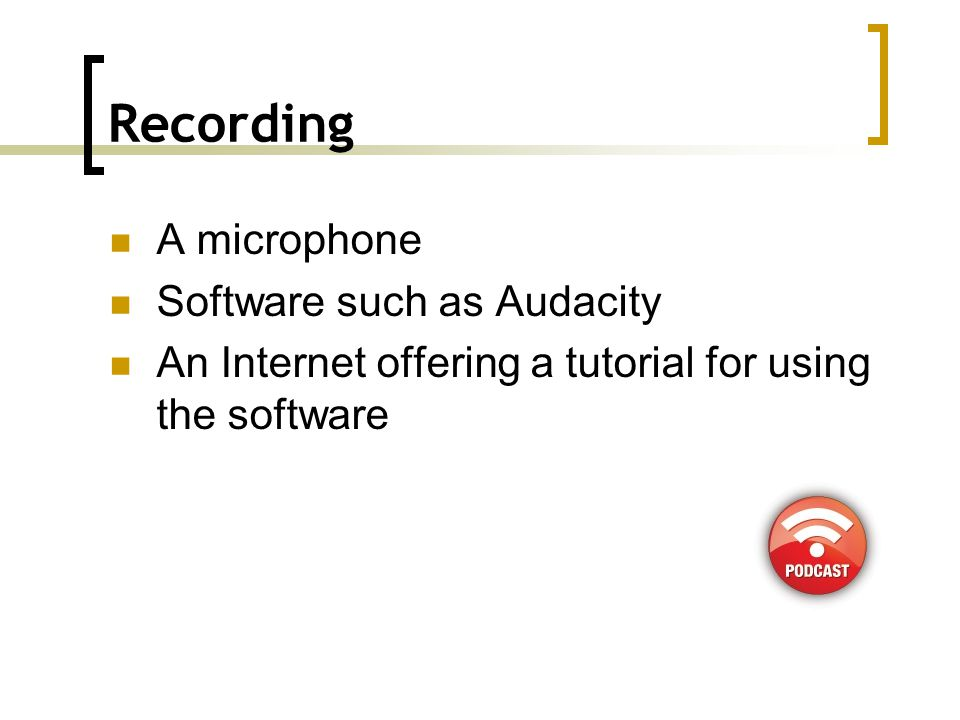 Publishing Once you have created your audio file and saved it, usually in mp3 format you need to upload it to a web server.