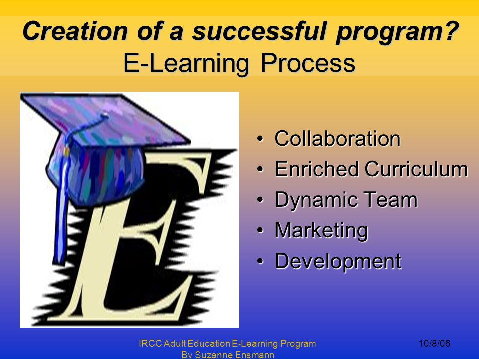 IRCC Adult Education E-Learning Program By Suzanne Ensmann 10/8/06 This is not part of presentation, Dr.