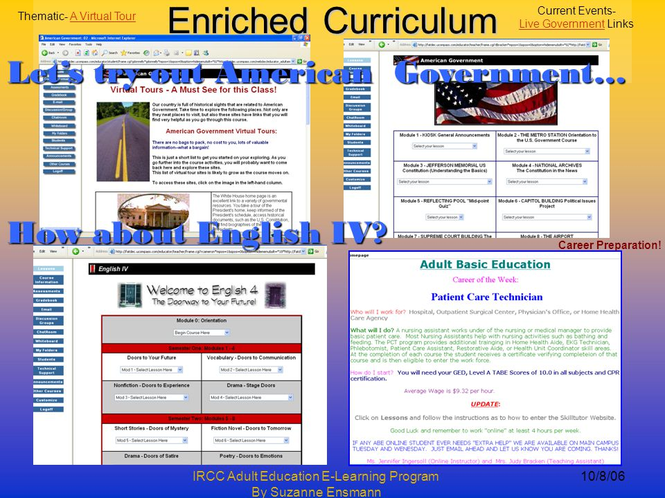 IRCC Adult Education E-Learning Program By Suzanne Ensmann 10/8/06 Enriched Curriculum Current Events- Live GovernmentLive Government Links Thematic- A Virtual TourA Virtual Tour Career Preparation.
