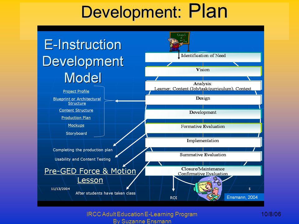 IRCC Adult Education E-Learning Program By Suzanne Ensmann 10/8/06 Development: Plan