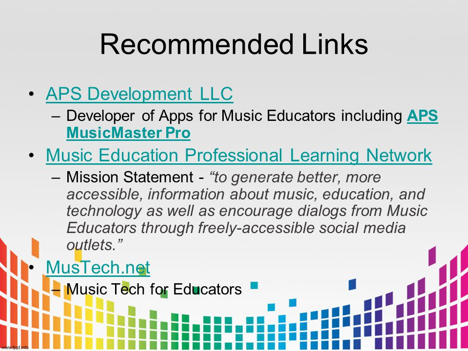 Recommended Links APS Development LLC –Developer of Apps for Music Educators including APS MusicMaster ProAPS MusicMaster Pro Music Education Professi