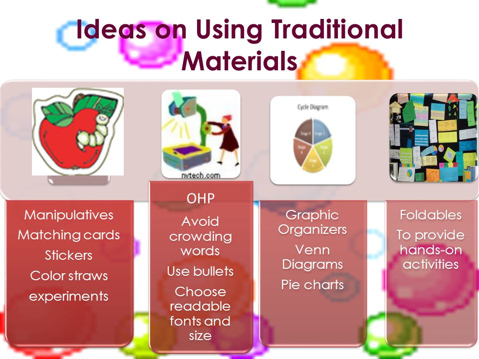 Ideas on Using Traditional Materials Manipulatives Matching cards Stickers Color straws experiments OHP Avoid crowding words Use bullets Choose readable fonts and size Graphic Organizers Venn Diagrams Pie charts Foldables To provide hands-on activities
