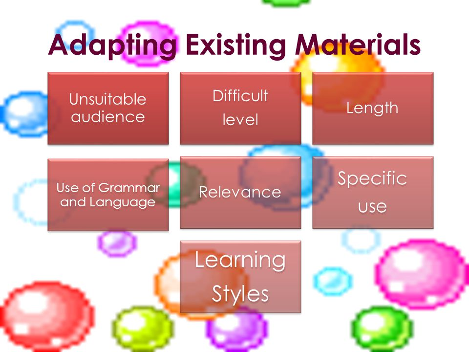 Adapting Existing Materials Unsuitable audience Difficult level Length Use of Grammar and Language Relevance Specific use Learning Styles