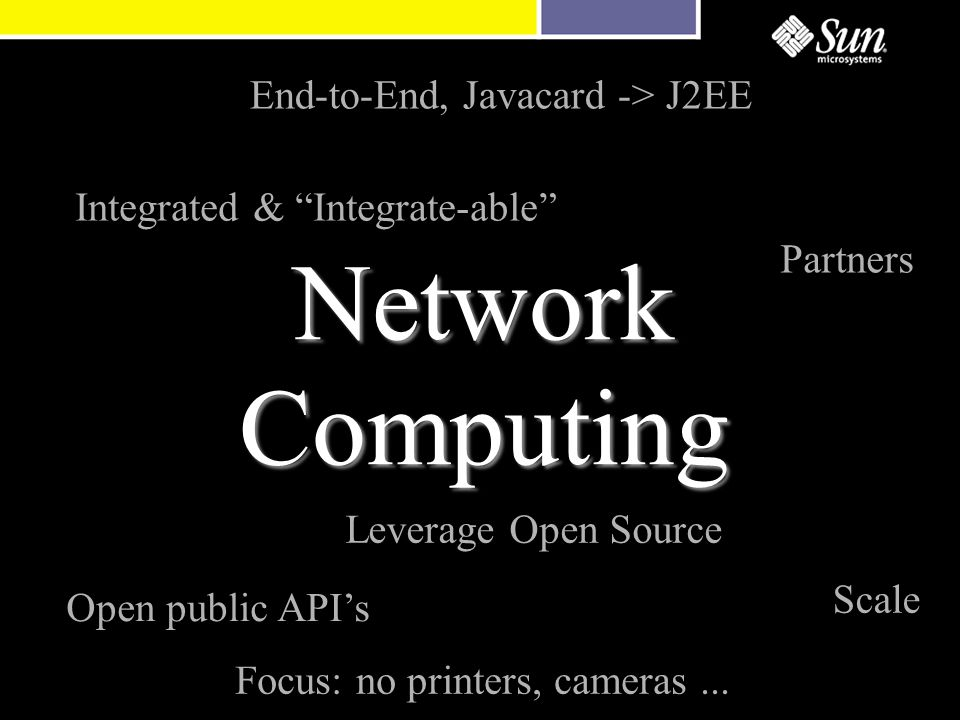 Network Computing End-to-End, Javacard -> J2EE Open public API's Partners Focus: no printers, cameras...