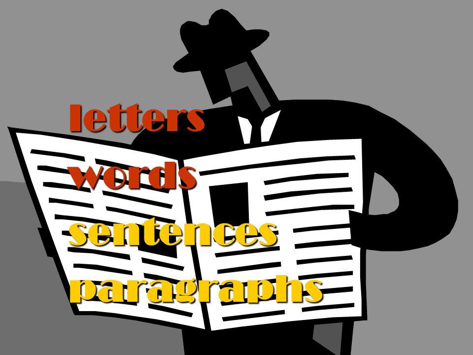 letters words sentences paragraphs