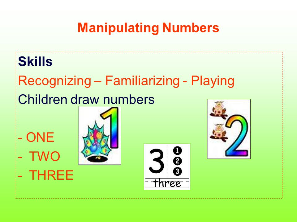 Manipulating Numbers Skills Recognizing – Familiarizing - Playing Children draw numbers - ONE -TWO -THREE
