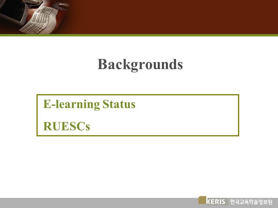 Backgrounds E-learning Status RUESCs