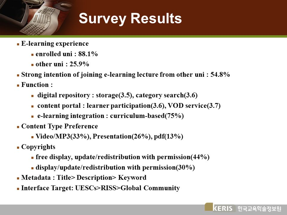 Survey Results n E-learning experience n enrolled uni : 88.1% n other uni : 25.9% n Strong intention of joining e-learning lecture from other uni : 54.8% n Function : n digital repository : storage(3.5), category search(3.6) n content portal : learner participation(3.6), VOD service(3.7) n e-learning integration : curriculum-based(75%) n Content Type Preference n Video/MP3(33%), Presentation(26%), pdf(13%) n Copyrights n free display, update/redistribution with permission(44%) n display/update/redistribution with permission(30%) n Metadata : Title> Description> Keyword n Interface Target: UESCs>RISS>Global Community