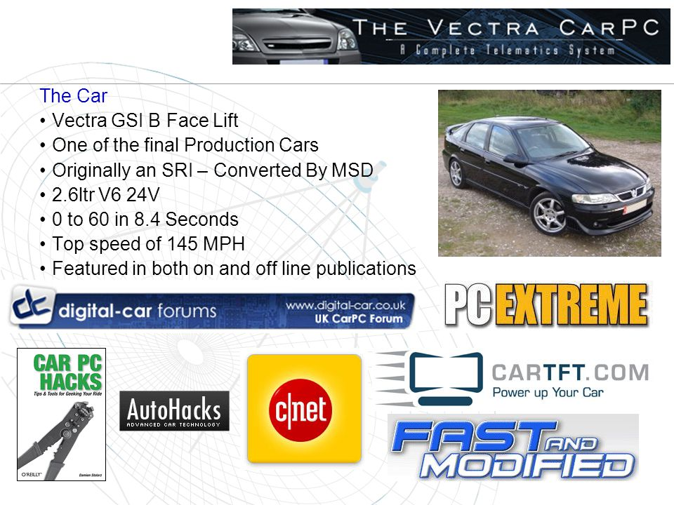 The Car Vectra GSI B Face Lift One of the final Production Cars Originally an SRI – Converted By MSD 2.6ltr V6 24V 0 to 60 in 8.4 Seconds Top speed of 145 MPH Featured in both on and off line publications