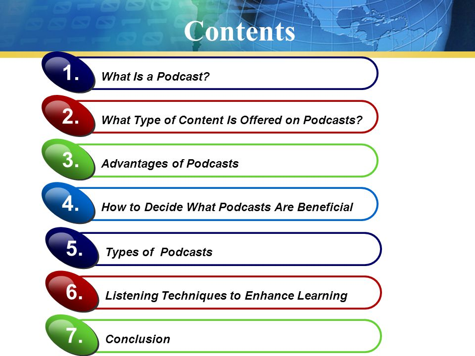 Contents What Is a Podcast? 1. What Type of Content Is Offered on Podcasts? 2. Advantages of Podcasts 3. How to Decide What Podcasts Are Beneficial 4.