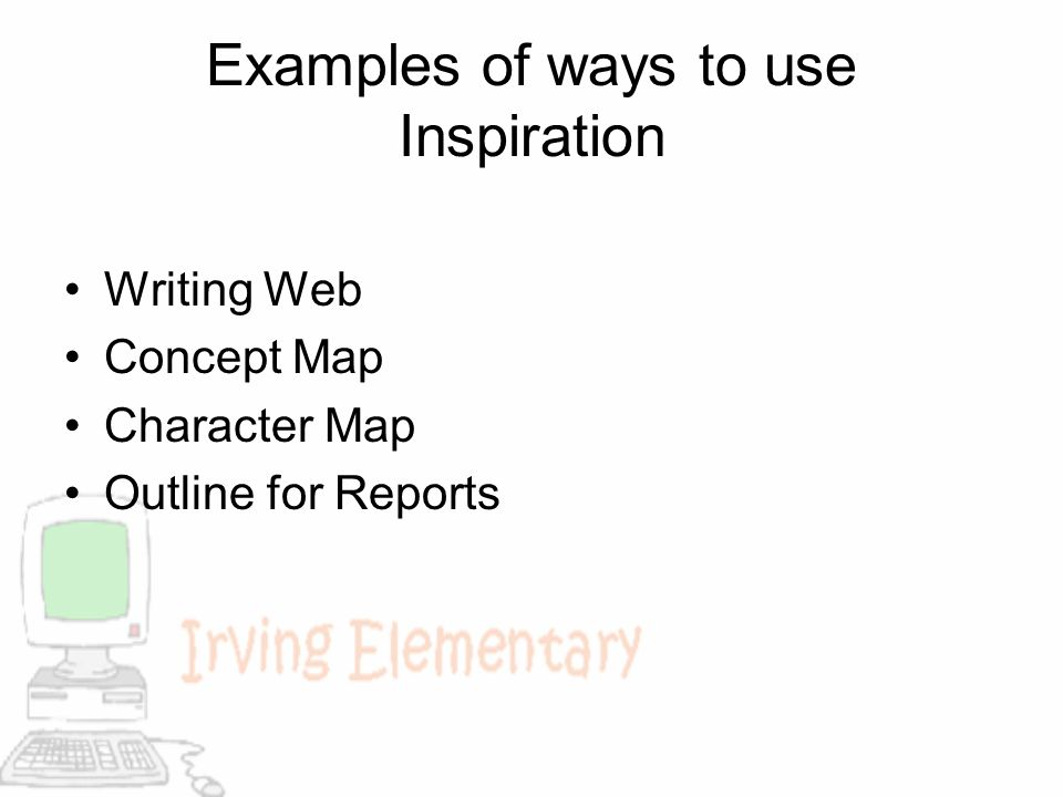 Examples of ways to use Inspiration Writing Web Concept Map Character Map Outline for Reports