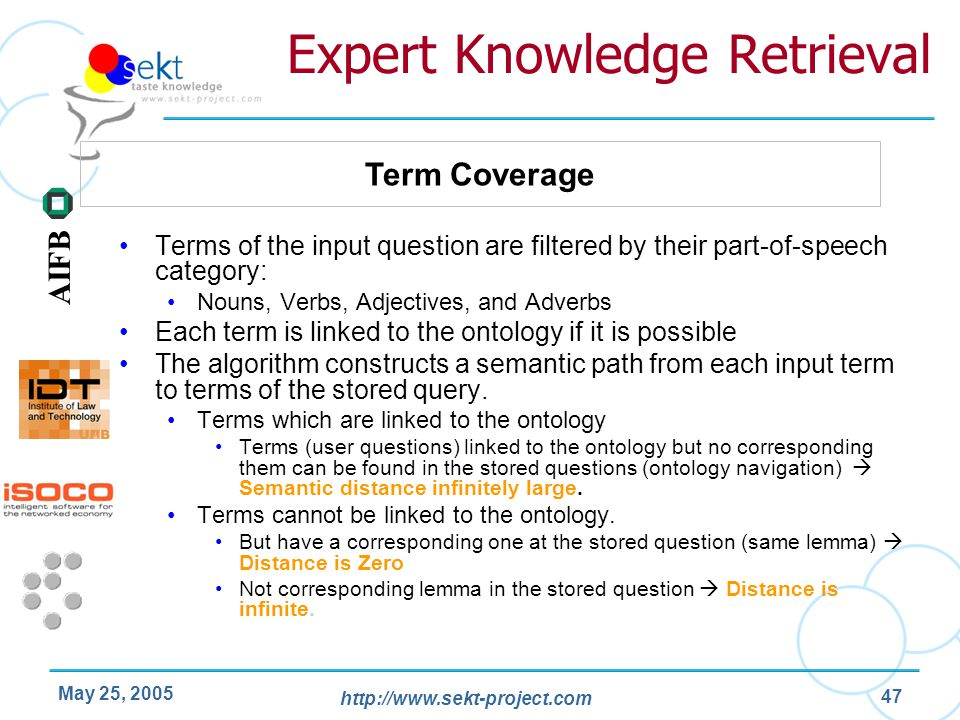 http://www.sekt-project.com AIFB May 25, 2005 47 Expert Knowledge Retrieval Terms of the input question are filtered by their part-of-speech category:
