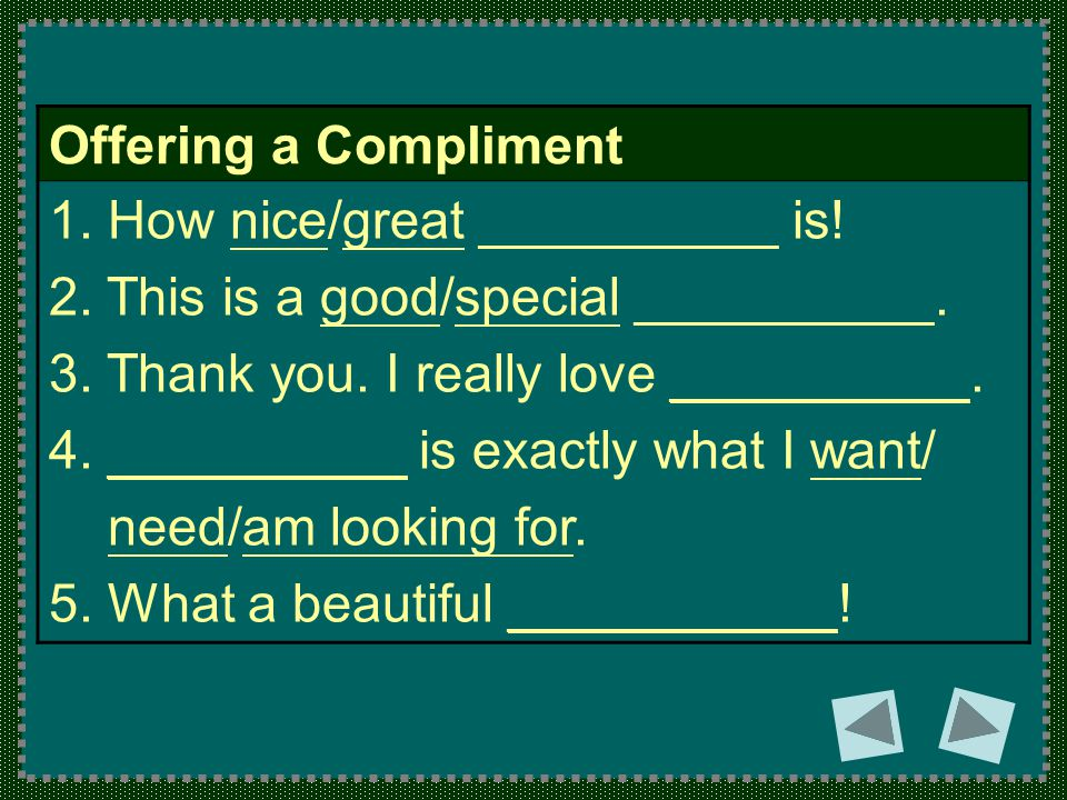 Offering a Compliment 1. How nice/great __________ is.