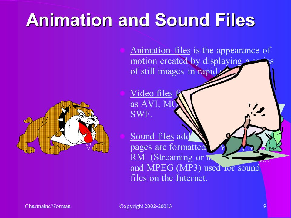 Charmaine NormanCopyright 2002-200139 Animation and Sound Files Animation files is the appearance of motion created by displaying a series of still images in rapid sequence.