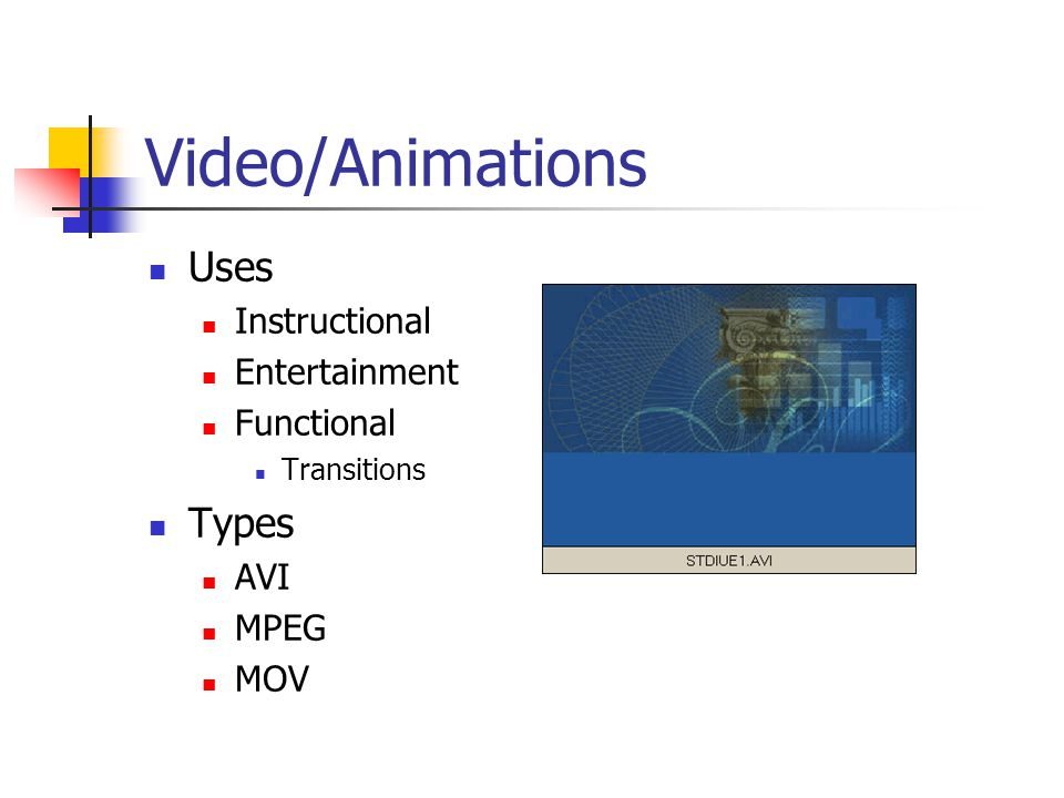 Video/Animations Uses Instructional Entertainment Functional Transitions Types AVI MPEG MOV