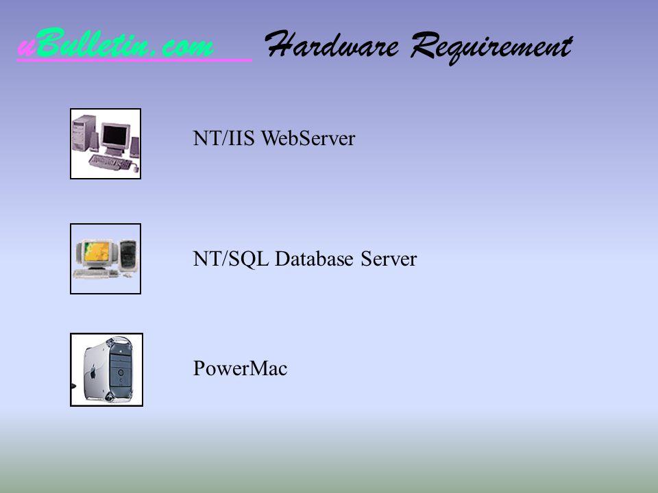 uBulletin.com Hardware Requirement NT/IIS WebServer NT/SQL Database Server PowerMac