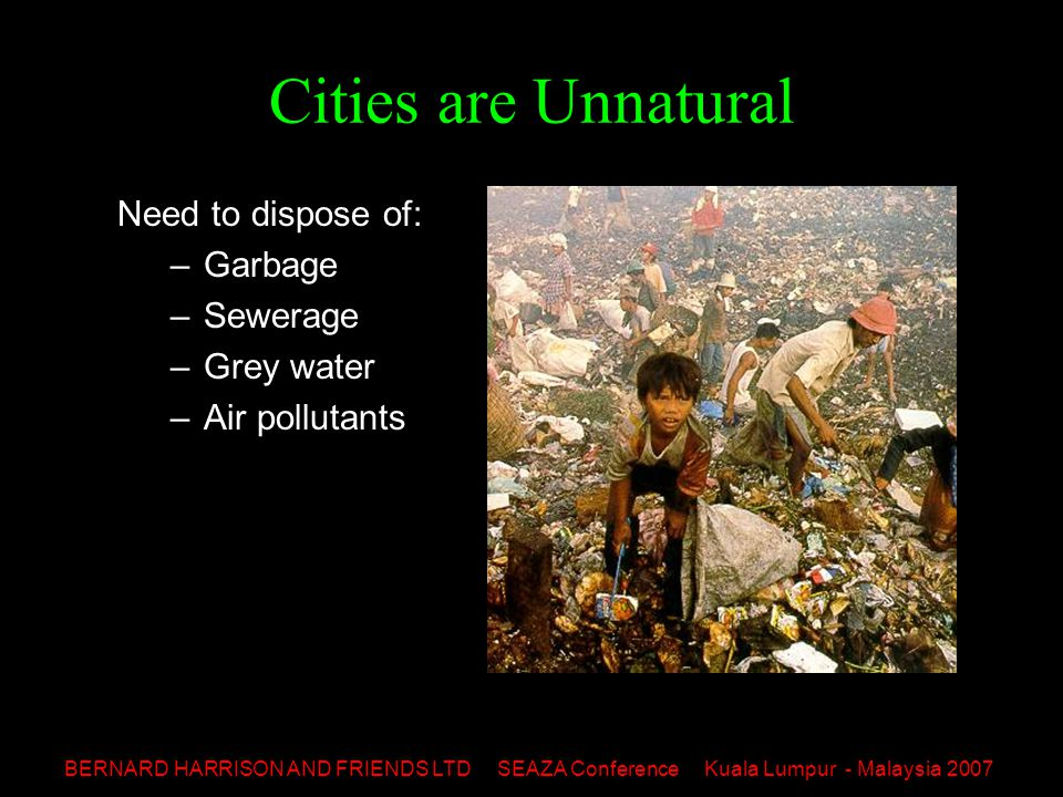 BERNARD HARRISON AND FRIENDS LTD SEAZA Conference Kuala Lumpur - Malaysia 2007 Cities are Unnatural Cover 2% of earth's surface Account for: –78% carbon emissions –60% residence water waste –76% wood for industry