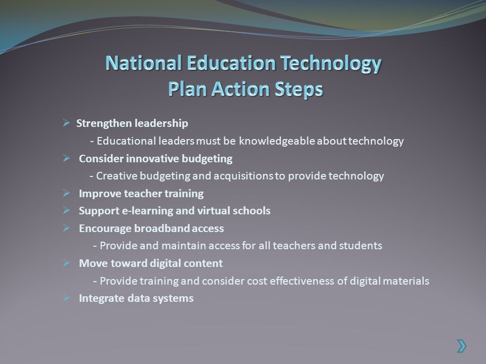  Non-profit organization  Strives to provide leadership and service to improve teaching and learning by advancing the effective use of technology in education (ISTE)  Influential advocates for legislative change - No Child Left Behind Act - 1996 Telecommunications Act - Cyber safety/security regulations - Copyright /fair use guidelines  Receives grants and contracts from USDE for technology research and programs  Drafted National Education Technology Standards (NETS) for students and teachers
