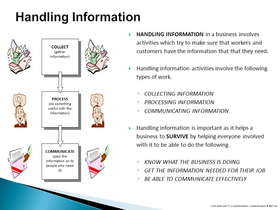 N 4/5 Admin and IT – 3: Communication in Administrators © BEST Ltd Handling Information  HANDLING INFORMATION in a business involves activities which try to make sure that workers and customers have the information that that they need.