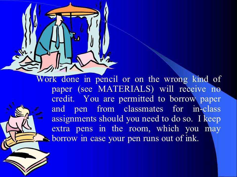 Work done in pencil or on the wrong kind of paper (see MATERIALS) will receive no credit.