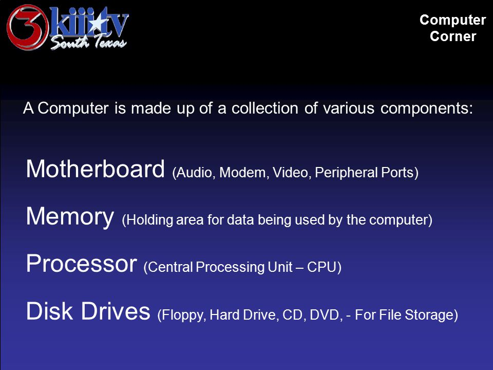 A Computer is made up of a collection of various components: Motherboard (Audio, Modem, Video, Peripheral Ports) Memory (Holding area for data being used by the computer) Processor (Central Processing Unit – CPU) Disk Drives (Floppy, Hard Drive, CD, DVD, - For File Storage) Computer Corner