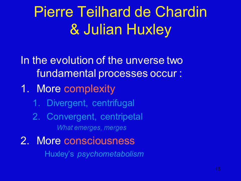 15 Pierre Teilhard de Chardin & Julian Huxley In the evolution of the unverse two fundamental processes occur : 1.More complexity 1.Divergent, centrifugal 2.Convergent, centripetal What emerges, merges 2.More consciousness Huxley's psychometabolism