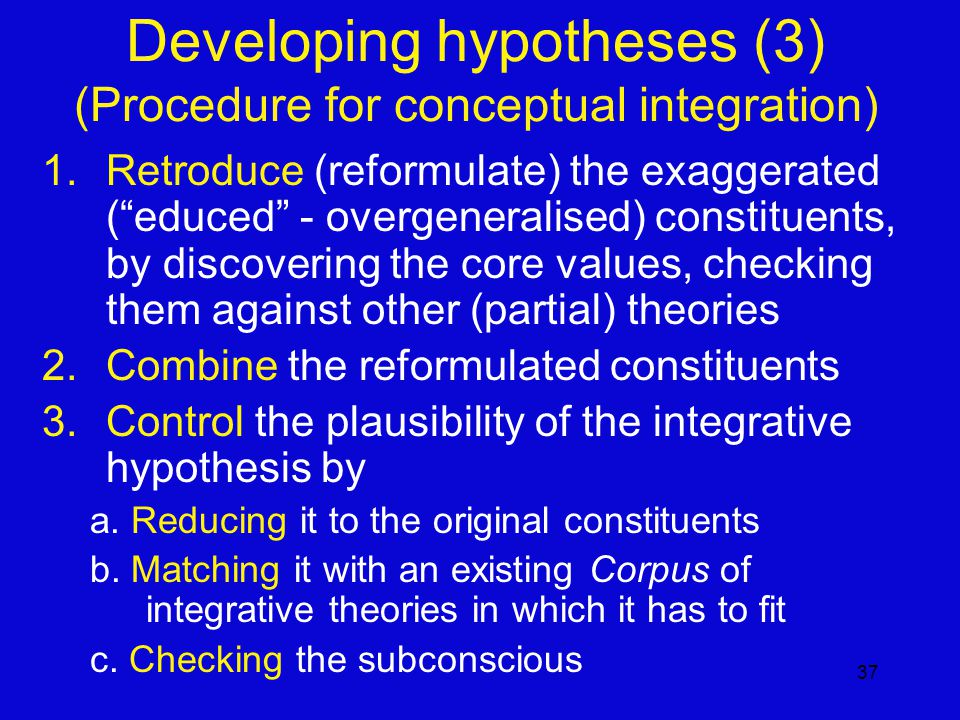 37 1.Retroduce (reformulate) the exaggerated ( educed - overgeneralised) constituents, by discovering the core values, checking them against other (partial) theories 2.Combine the reformulated constituents 3.Control the plausibility of the integrative hypothesis by a.