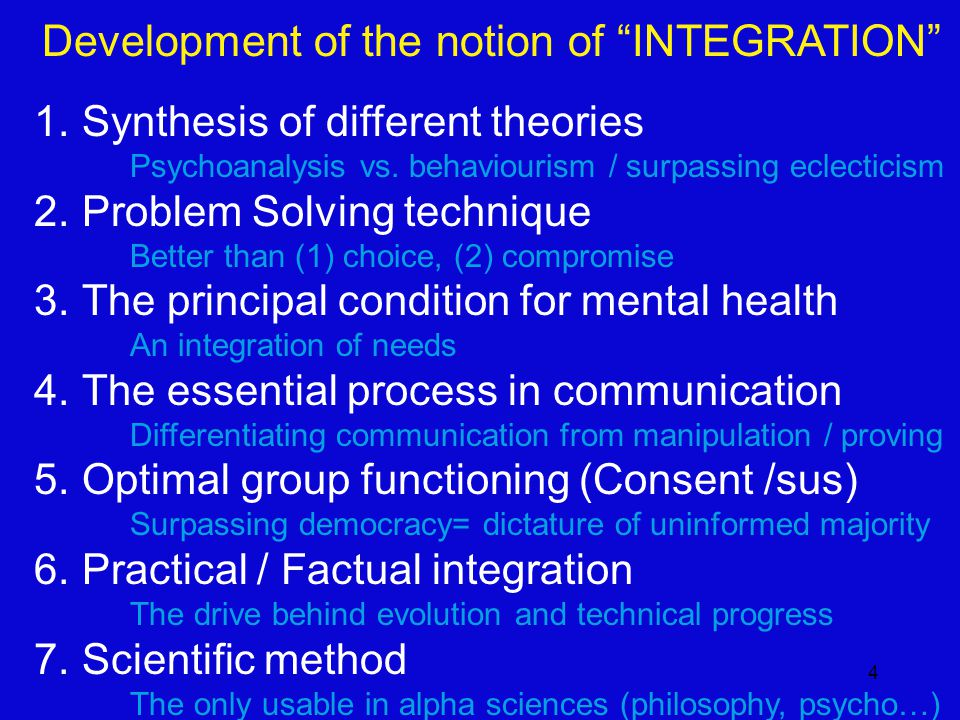 4 Development of the notion of INTEGRATION 1.Synthesis of different theories Psychoanalysis vs.