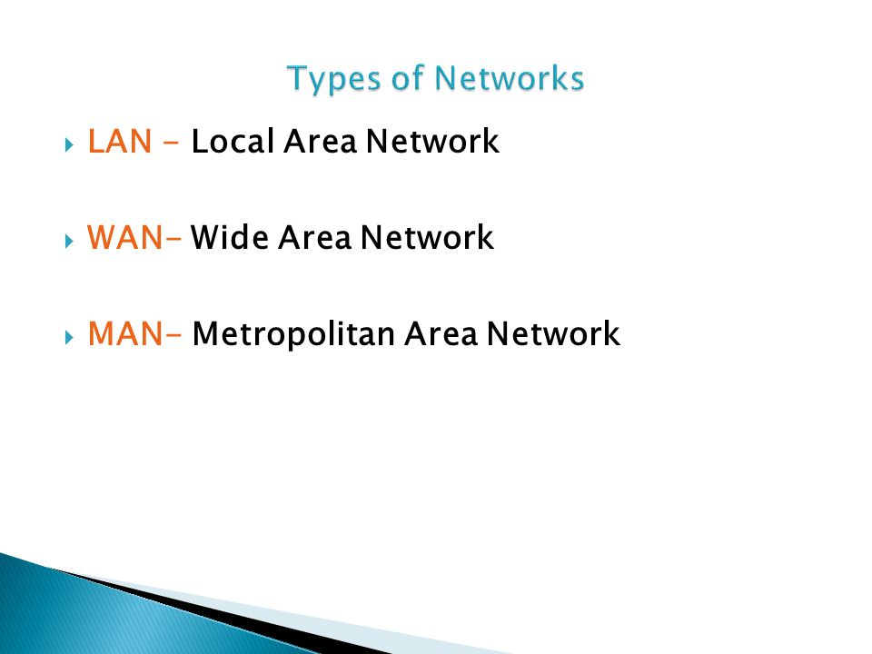  LAN - Local Area Network  WAN- Wide Area Network  MAN- Metropolitan Area Network