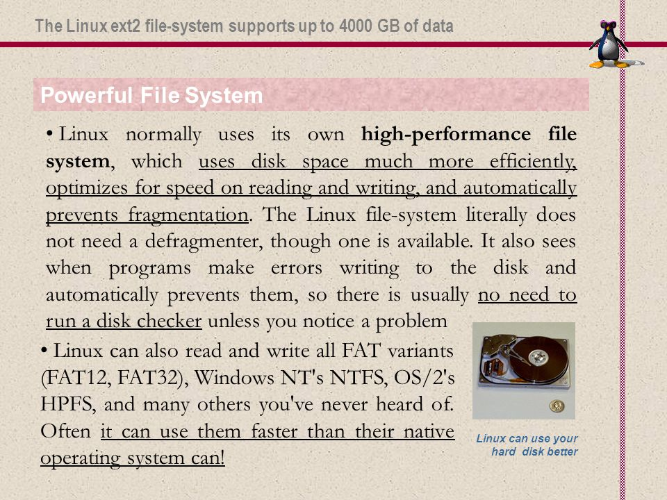 Powerful File System Linux normally uses its own high-performance file system, which uses disk space much more efficiently, optimizes for speed on reading and writing, and automatically prevents fragmentation.