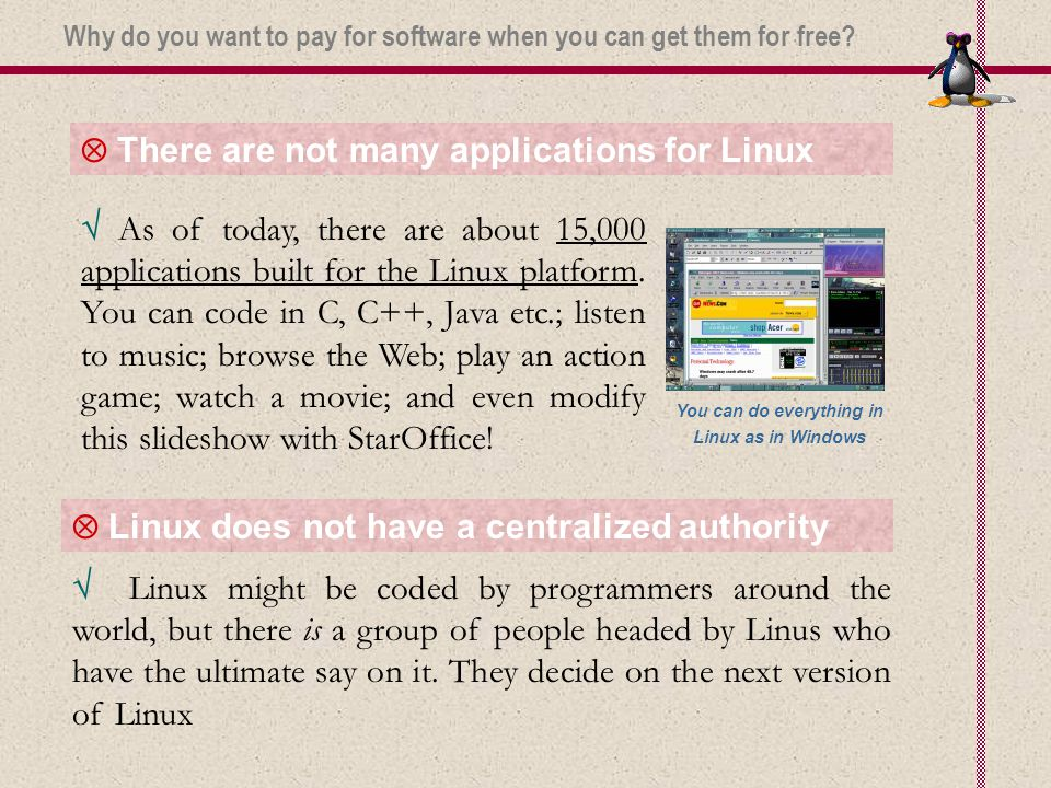  There are not many applications for Linux  Linux does not have a centralized authority  Linux might be coded by programmers around the world, but there is a group of people headed by Linus who have the ultimate say on it.