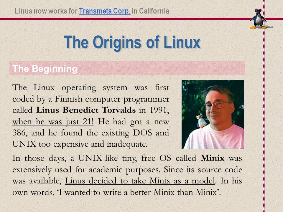 The Linux operating system was first coded by a Finnish computer programmer called Linus Benedict Torvalds in 1991, when he was just 21.