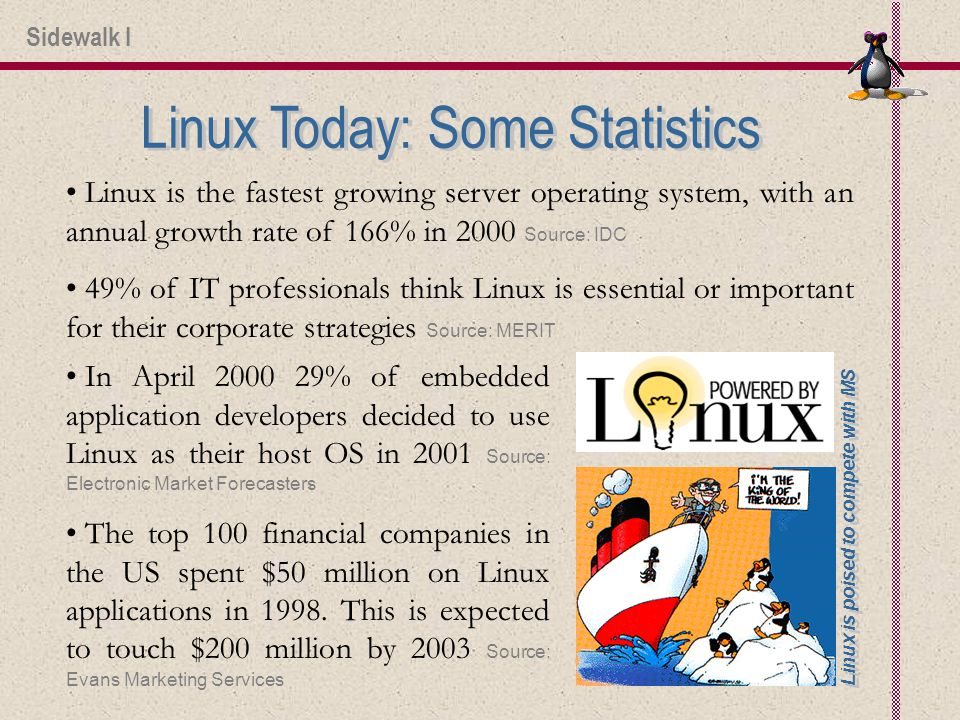 Linux is the fastest growing server operating system, with an annual growth rate of 166% in 2000 Source: IDC 49% of IT professionals think Linux is essential or important for their corporate strategies Source: MERIT In April % of embedded application developers decided to use Linux as their host OS in 2001 Source: Electronic Market Forecasters The top 100 financial companies in the US spent $50 million on Linux applications in 1998.