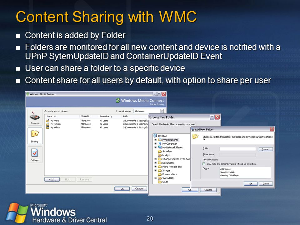 20 Content Sharing with WMC Content is added by Folder Content is added by Folder Folders are monitored for all new content and device is notified wit