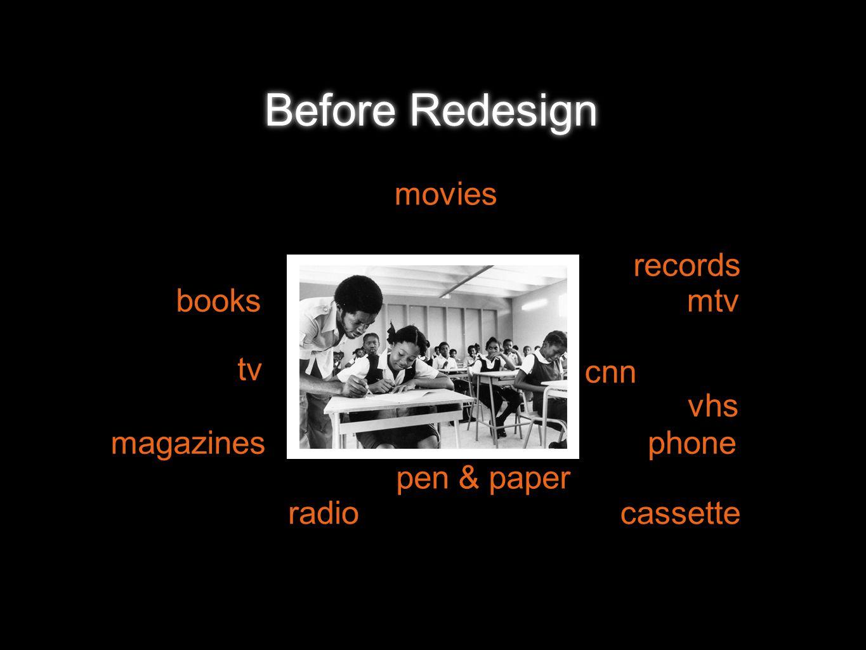 records vhs mtv cnn radio tv movies phonemagazines pen & paper books cassette Before Redesign