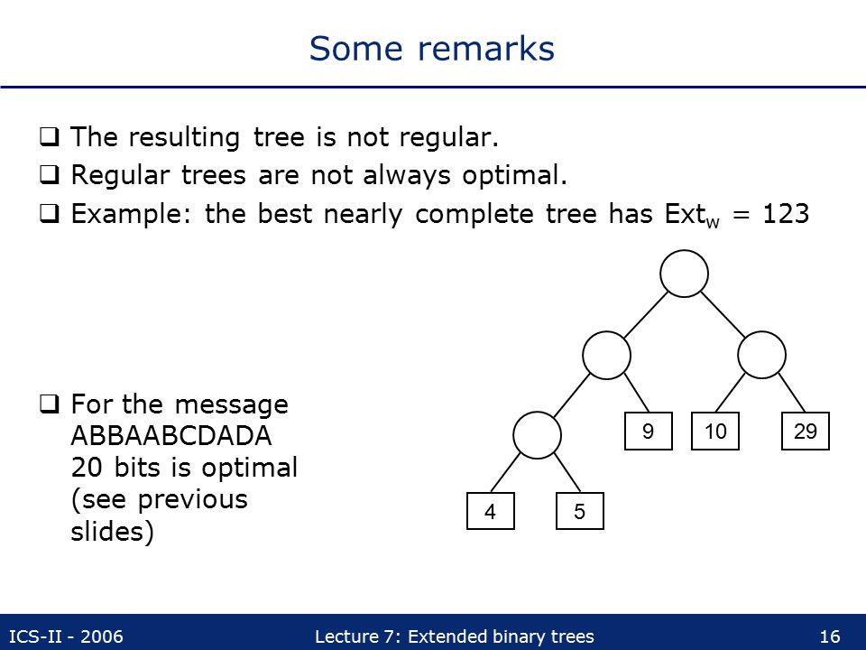 ICS-II - 2006Lecture 7: Extended binary trees16 Some remarks  The resulting tree is not regular.  Regular trees are not always optimal.  Example: t