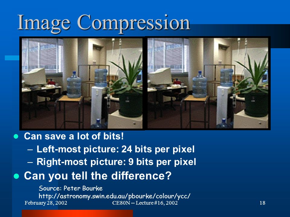 February 28, 2002CE80N -- Lecture #16, 200218 Image Compression Can save a lot of bits.