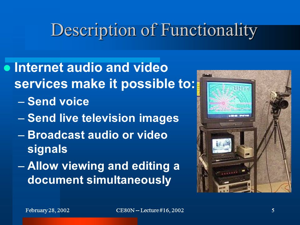 February 28, 2002CE80N -- Lecture #16, 20025 Description of Functionality Internet audio and video services make it possible to: –Send voice –Send live television images –Broadcast audio or video signals –Allow viewing and editing a document simultaneously