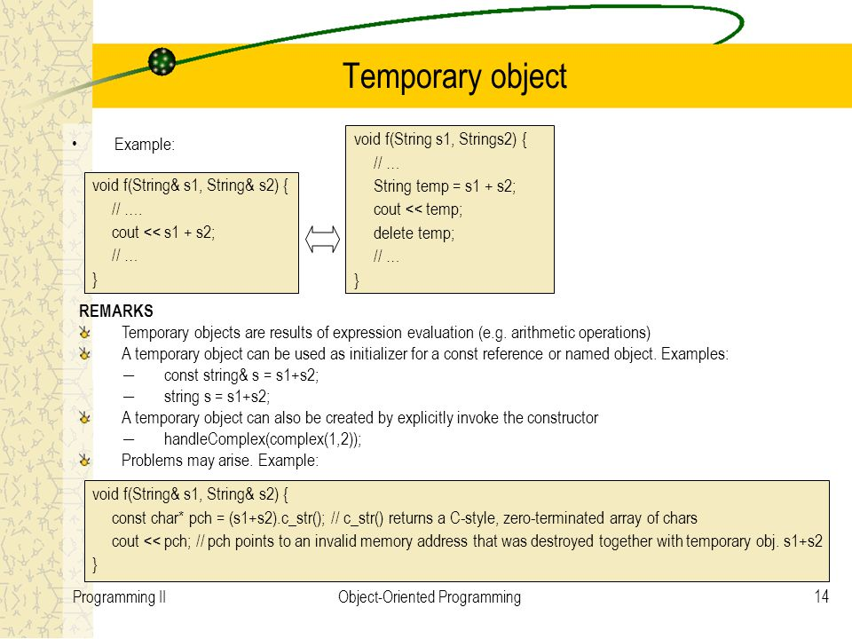 14Programming IIObject-Oriented Programming Temporary object void f(String& s1, String& s2) { // ….
