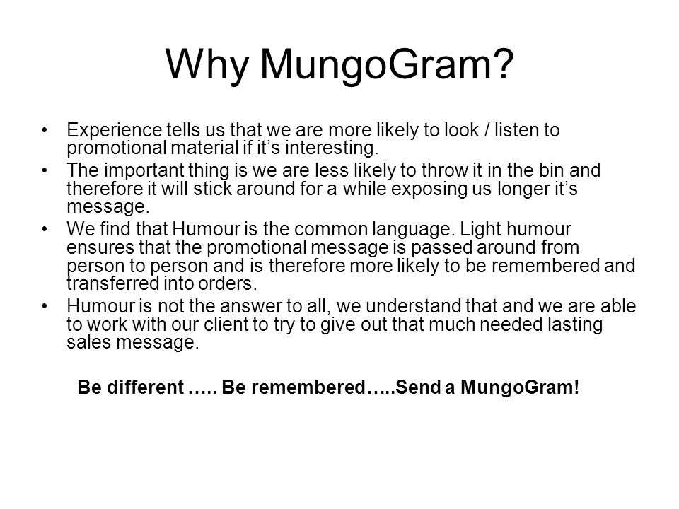 Why MungoGram.