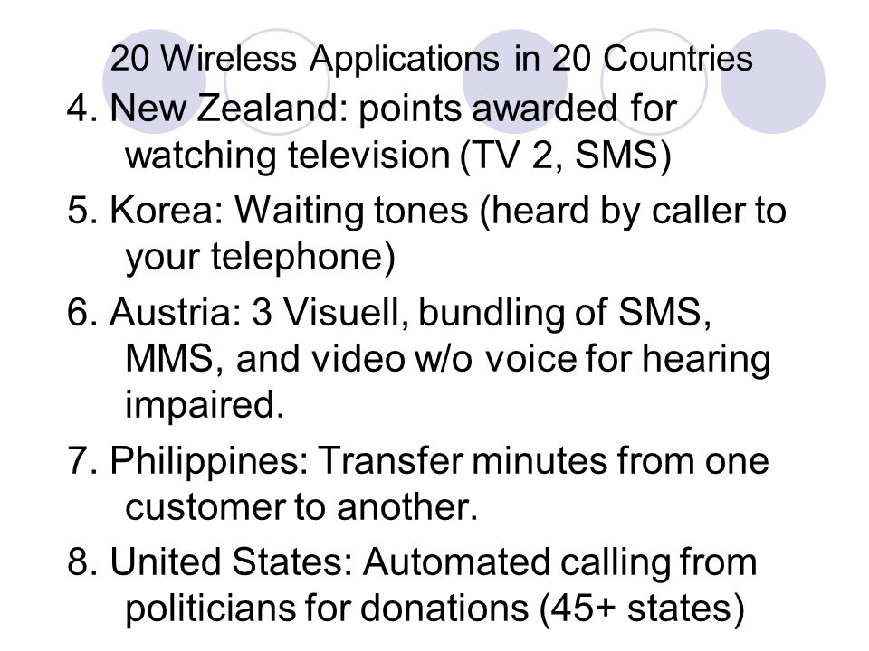 20 Wireless Applications in 20 Countries 4.