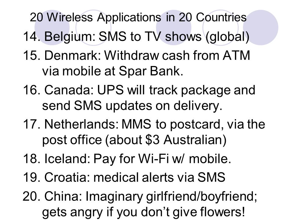 20 Wireless Applications in 20 Countries 14. Belgium: SMS to TV shows (global) 15.