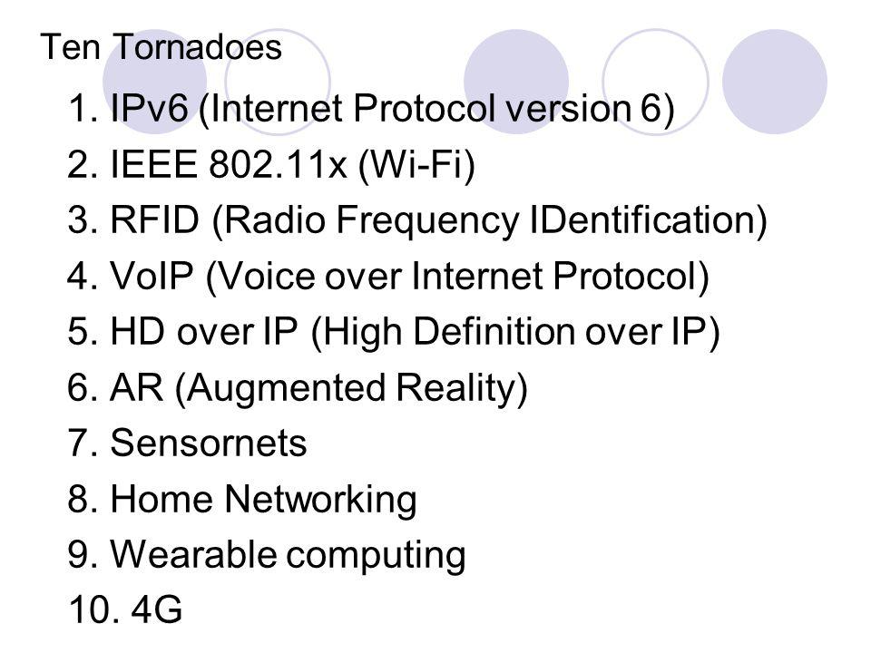 Ten Tornadoes 1. IPv6 (Internet Protocol version 6) 2.