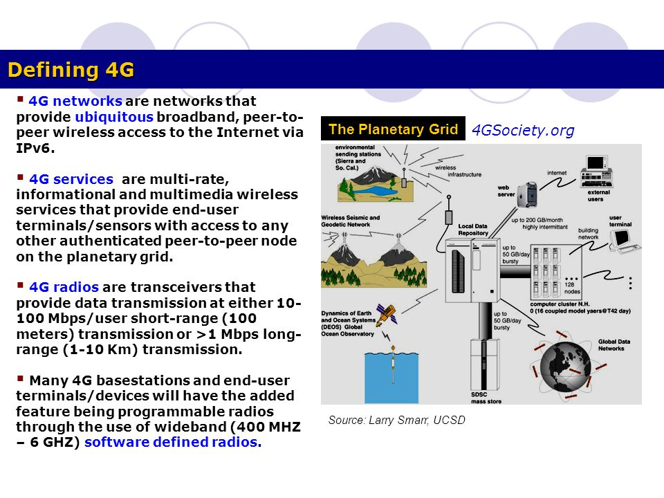 Defining 4G  4G networks are networks that provide ubiquitous broadband, peer-to- peer wireless access to the Internet via IPv6.